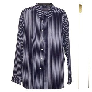 Round tree and Yorke Navy and white striped shirt.